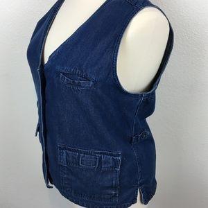 TravelSmith Size 18/20 Secret Pocket Denim Vest